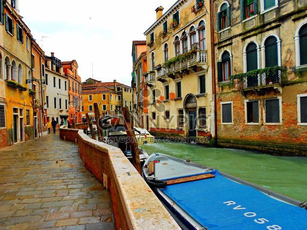 Gondolas on canal in Venice - Free image #333683