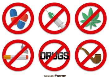 No drugs signs icons - Free vector #333863