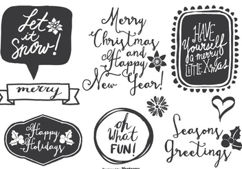 Cute Messy Hand Drawn Style Christmas Labels - vector gratuit #334003