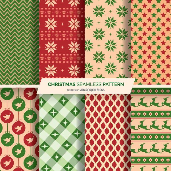 8 Christmas seamles patterns - Kostenloses vector #334333