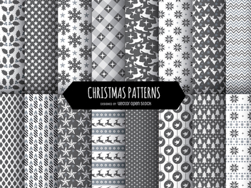 16 Christmas black and white patterns - Free vector #334343