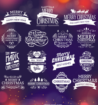 Christmas badges and labels - vector gratuit #334353