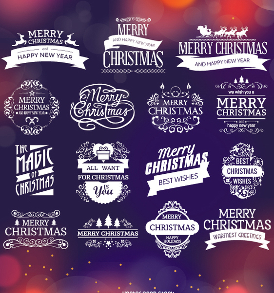 Christmas badges and labels - Free vector #334353