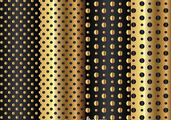 Gold And Black Dot Pattern - vector gratuit #334453