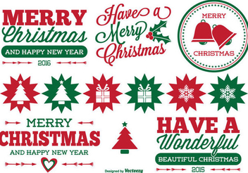 Retro Christmas Label Set - vector #334513 gratis