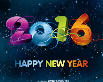 2016 colorful big numbers - vector gratuit #334933