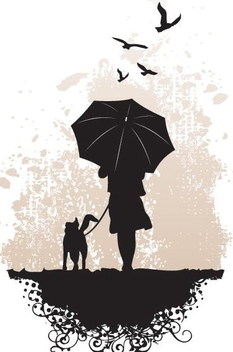Girl Holding Umbrella with Dog - Free vector #335153