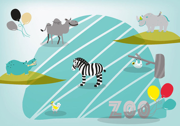 Free Cute Hand Drawn Zoo Animals Vector Background - vector #335423 gratis