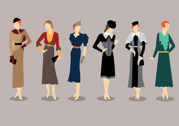 Fashion Style 1930s Vectors - Free vector #335553