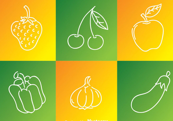 Fruits And Vegetables Outline Icons - vector gratuit #335603