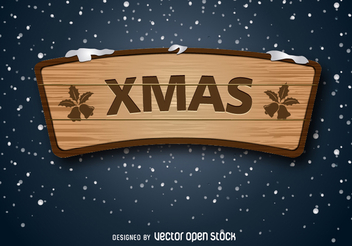 xmas wooden sign - vector gratuit #335673