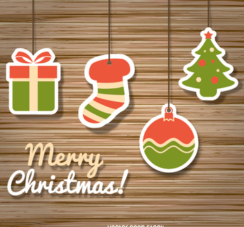 Christmas icons over wooden background - бесплатный vector #335693