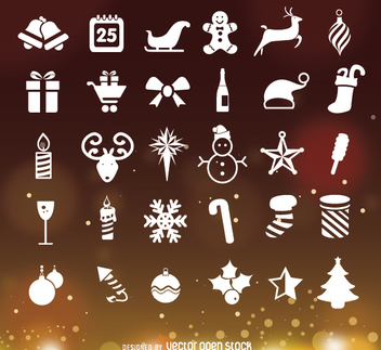 Christmas icons over Bokeh background - Free vector #335703