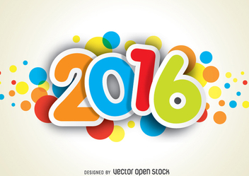 Funny and colorful 2016 new year - vector gratuit #335713