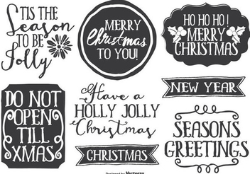 Funky Hand Drawn Christmas Labels - Free vector #335833