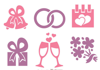 Wedding Pink And Purple Icons - Free vector #335973