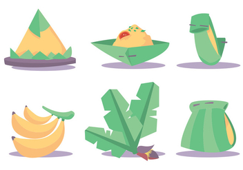 Banana Leaf Dishes Vector Set - vector gratuit #336103