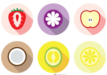 Slice Fruits Long Shadow Icons - vector gratuit #336123