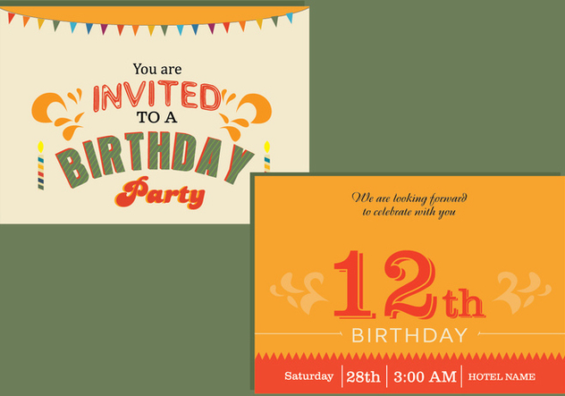 Happy Birthday Card Invitation Free Vector Download 336133 Cannypic