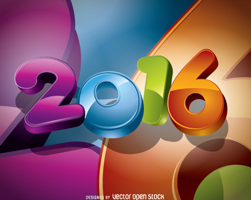 2016 colorful rounded big numbers - Free vector #336383