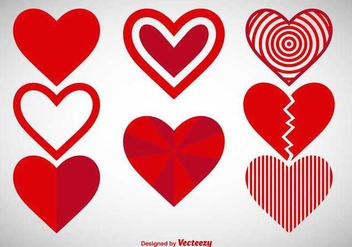 Red hearts icons - Free vector #336493