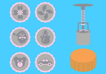 Vector Illustration of Moon Cake Accessories - vector gratuit #336693