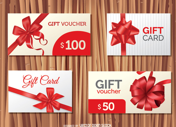4 Gift Cards designs - vector gratuit #336913