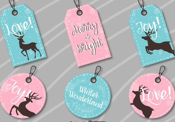 Round Rectangle Xmas Label Set - vector gratuit #336983