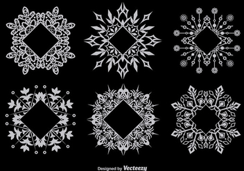 Decorative snowflake-shaped frames - vector #337143 gratis