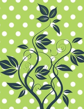 Polka Dots Green Growing Plant - vector gratuit #337203