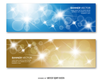 2 banner set with shinning circles and sparks - vector #337213 gratis