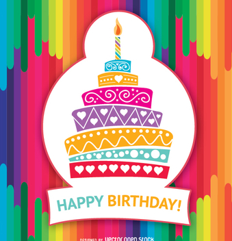 Happy Birthday colorful cake - vector gratuit #337353