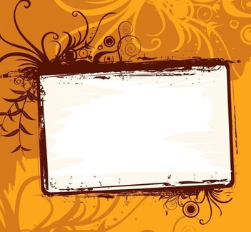 Grungy Frame Orange Swirls Background - vector gratuit #337373