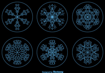 Christmas Snowflake Ornament Circles - Free vector #337393