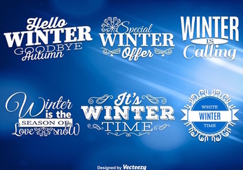 Winter Labels Blue Background - vector #337403 gratis