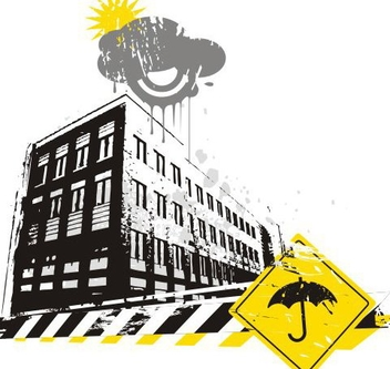 Rainy Urban Street Caution Sign - Kostenloses vector #337413