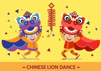 chinese lion dance - Free vector #337603