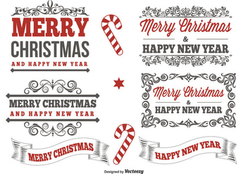 Typographic Christmas Label Set - Free vector #337993