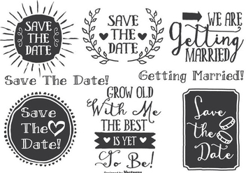 Hand Drawn Style Wedding Label Set - Free vector #338133