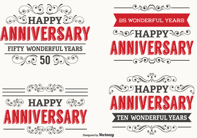 Happy Anniversary Label Set - vector gratuit #338363