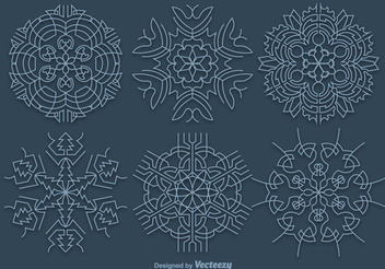 Blue Ornamented Christmas Snowflakes - Free vector #338433