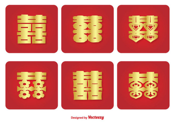 Chinese Double Happiness Symbol Icon Set - Free vector #338723