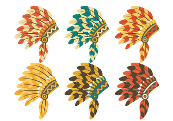 Indian Headdress Set Vector - Free vector #338753