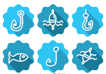Fishing Long Shadow Icons - бесплатный vector #339263