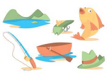 Fishing Rod Vector Set - Free vector #339453