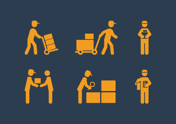 Vector Delivery Man Icon Set - Free vector #339493