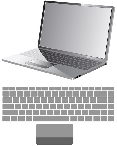 Vector laptop with keyboard map - Free vector #339543