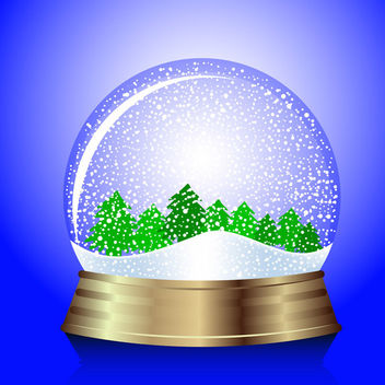 Christmas snow-globe with trees - vector gratuit #339553