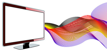 Vector LCD tv with waves - Free vector #339573