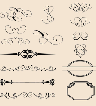 Vintage Calligraphic Decorations - Kostenloses vector #340203